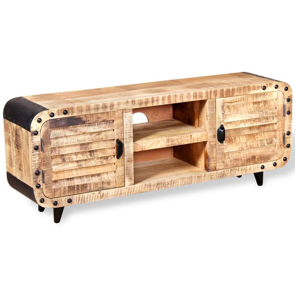 Acheter vidaxl meuble tv bois de manguier massif 120 x 30 for Meuble audio en bois massif