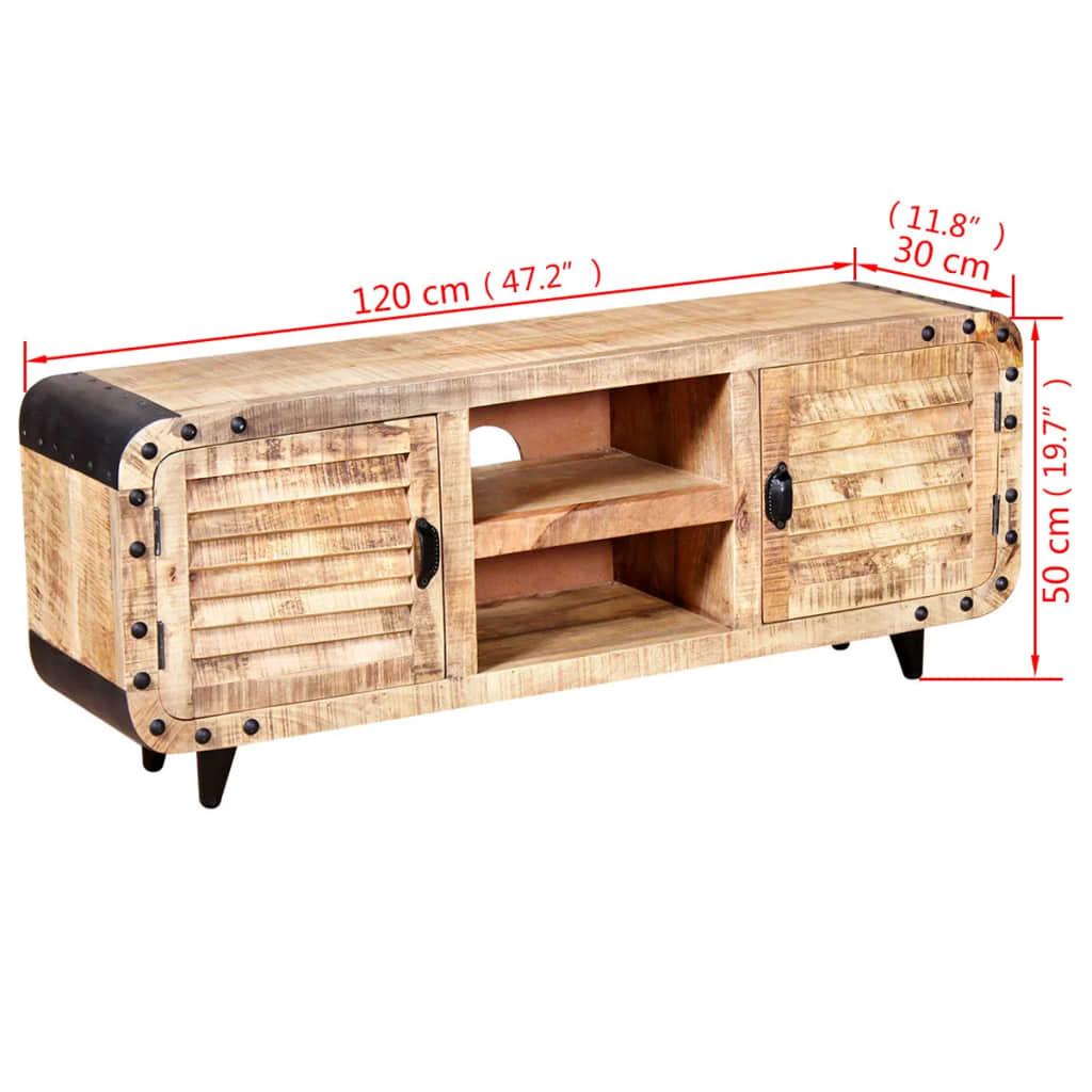 Acheter vidaxl meuble tv bois de manguier massif 120 x 30 for Meuble tv bois 120 cm