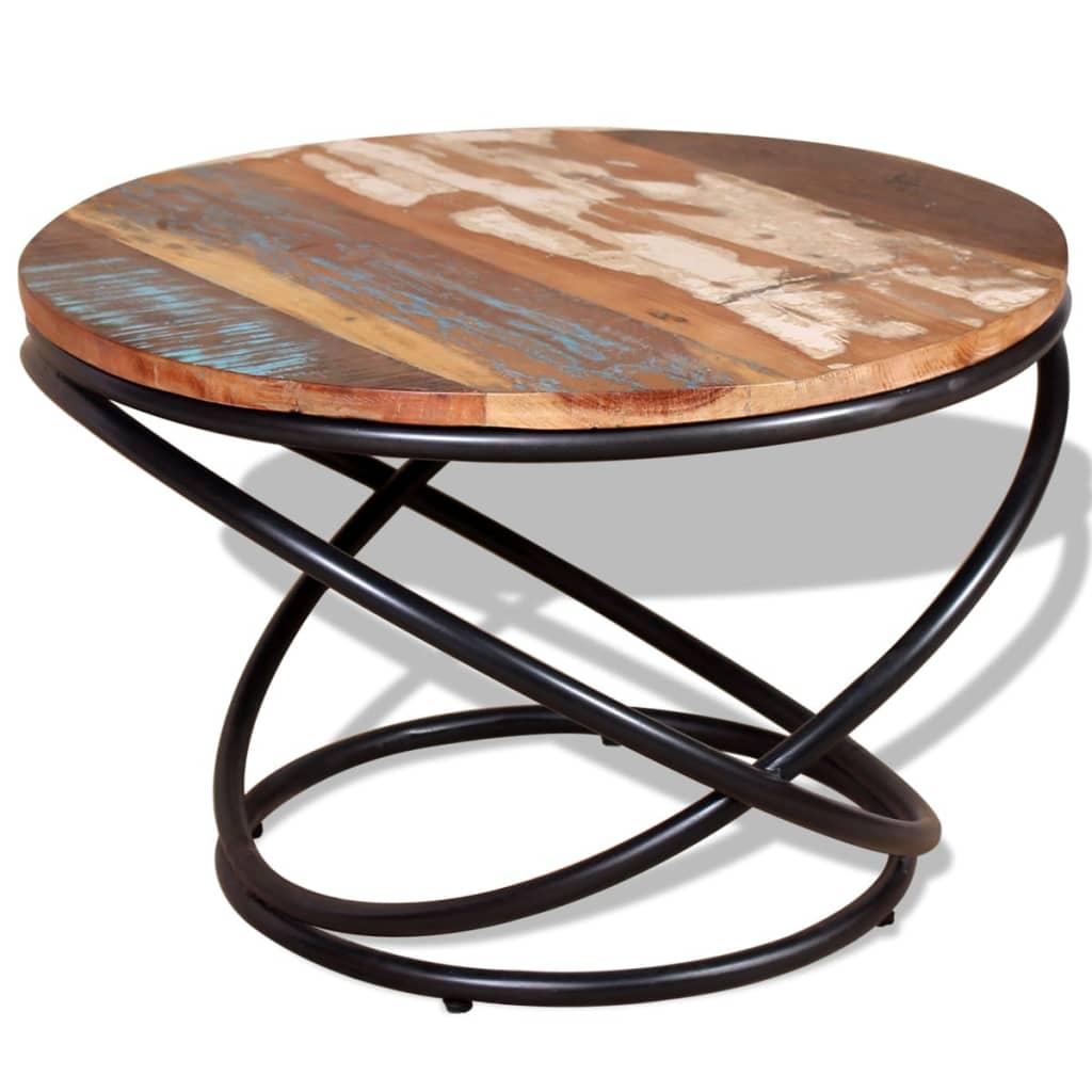 vidaXL Tömör újrahasznosított fa dohányzóasztal 60x60x40cm