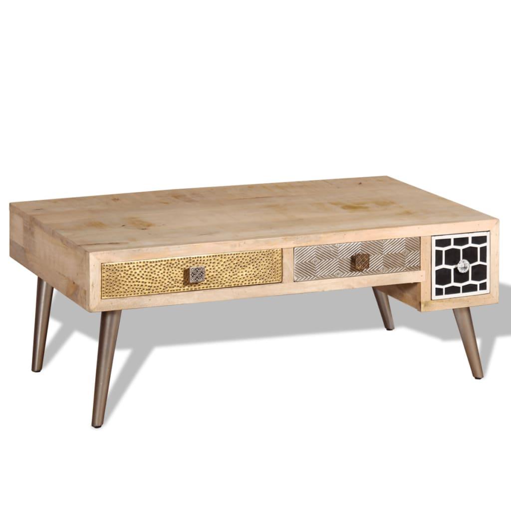 acheter vidaxl table basse avec tiroirs bois de manguier massif 105x55x41 cm pas cher. Black Bedroom Furniture Sets. Home Design Ideas