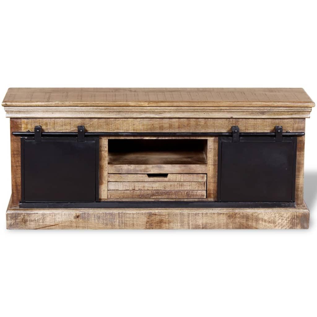 Acheter vidaxl meuble tv avec 2 portes coulissantes bois for Meuble audio en bois massif