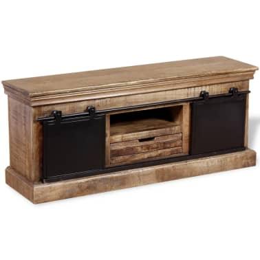 acheter vidaxl meuble tv avec 2 portes coulissantes bois de manguier massif pas cher. Black Bedroom Furniture Sets. Home Design Ideas