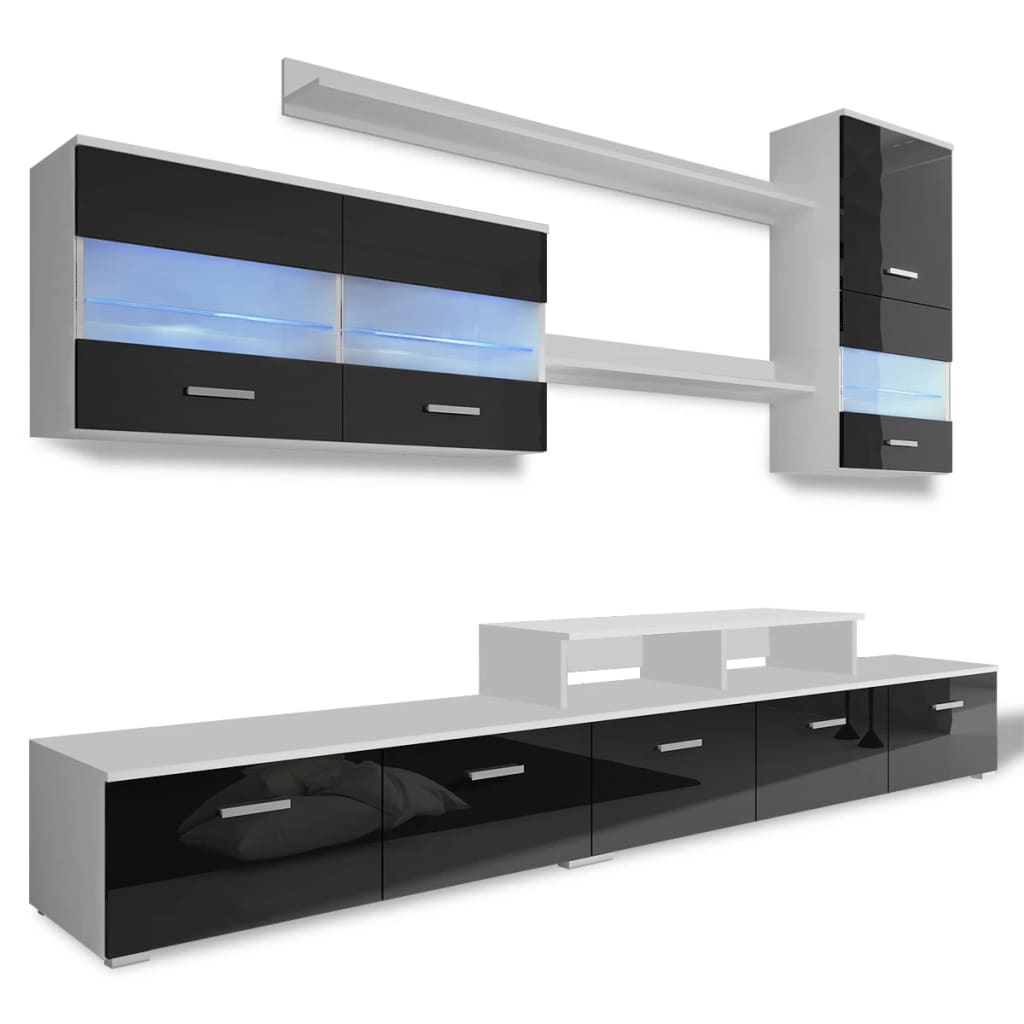 acheter vidaxl meuble tv avec led 250 cm noir haute. Black Bedroom Furniture Sets. Home Design Ideas
