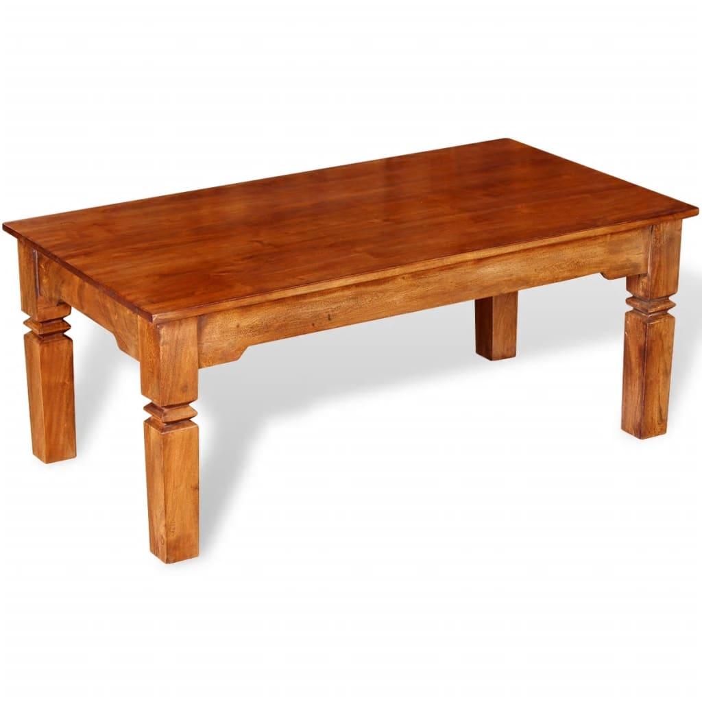 Vidaxl table basse bois massif 110 x 60 x 45 cm - Table basse ouvrable ...