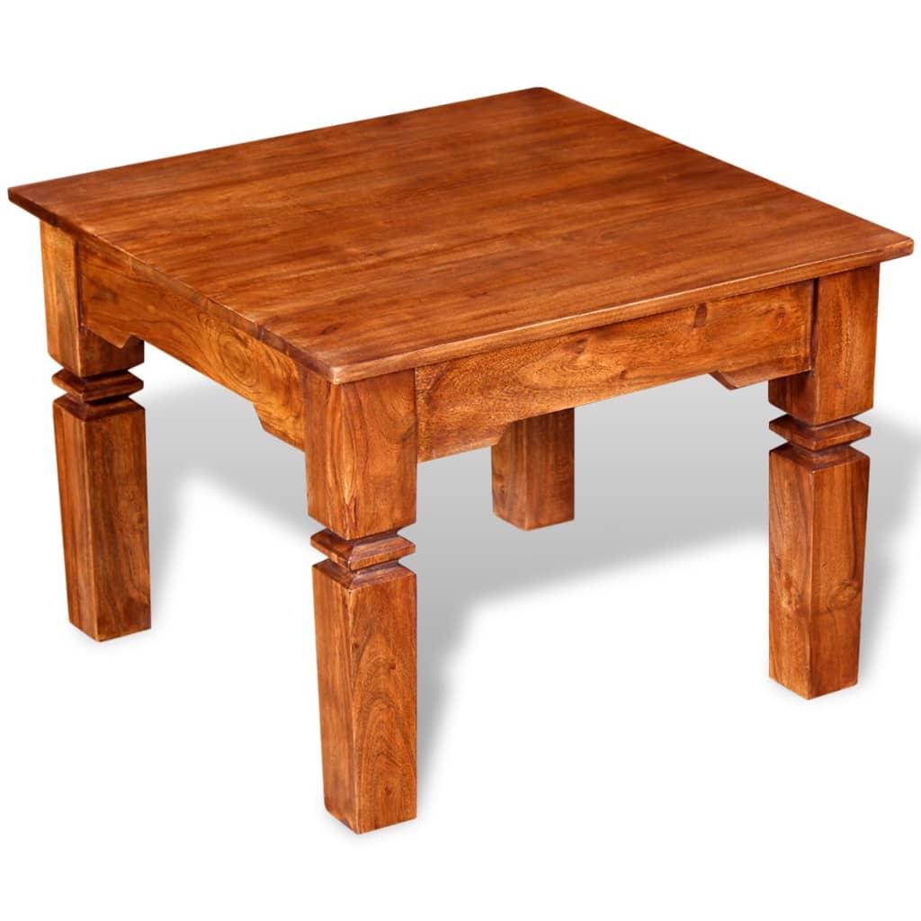 vidaXL Tömör fa dohányzóasztal 60x60x45 cm