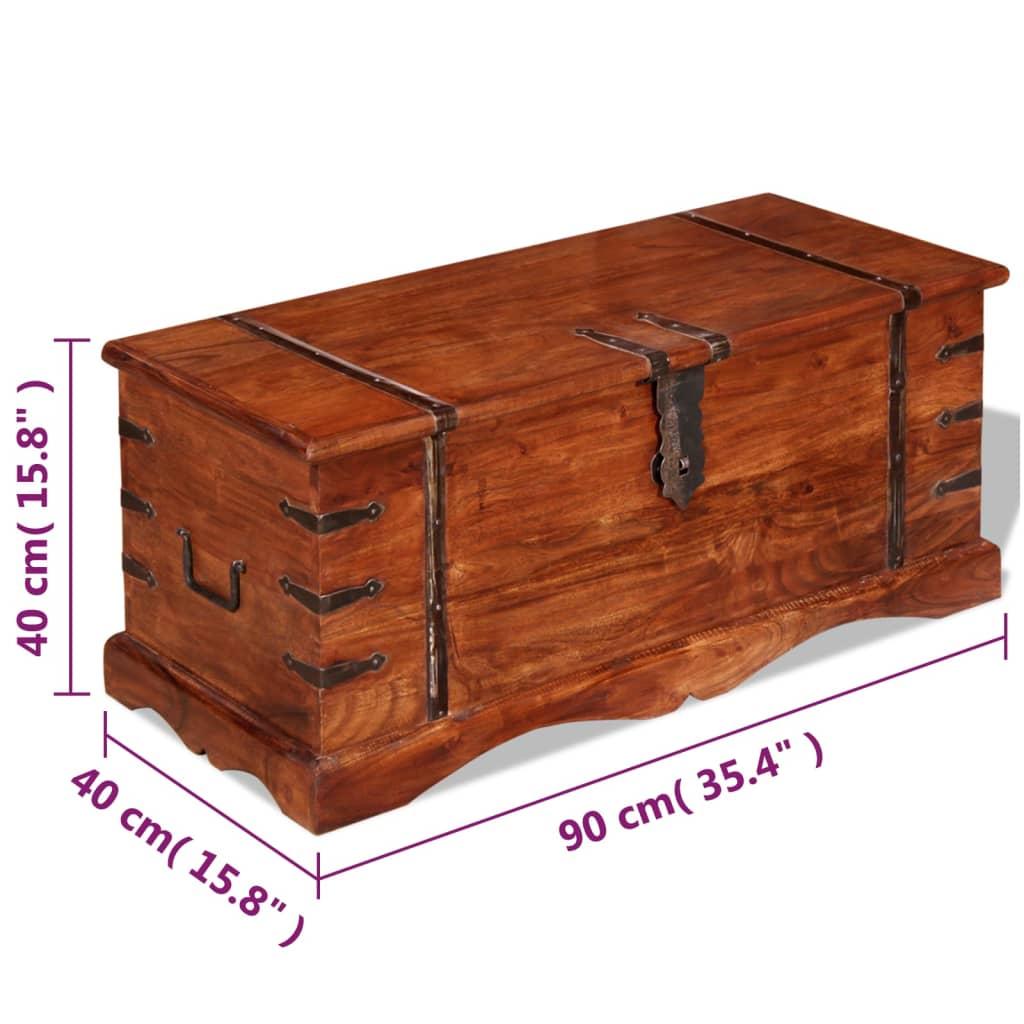 vidaxl coffre de rangement bois massif. Black Bedroom Furniture Sets. Home Design Ideas