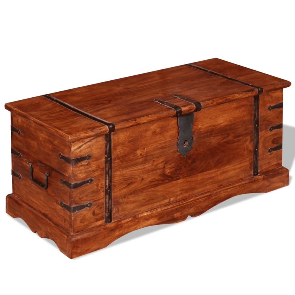 Brown solid wood storage chest trunk box antique style for Storage treasures