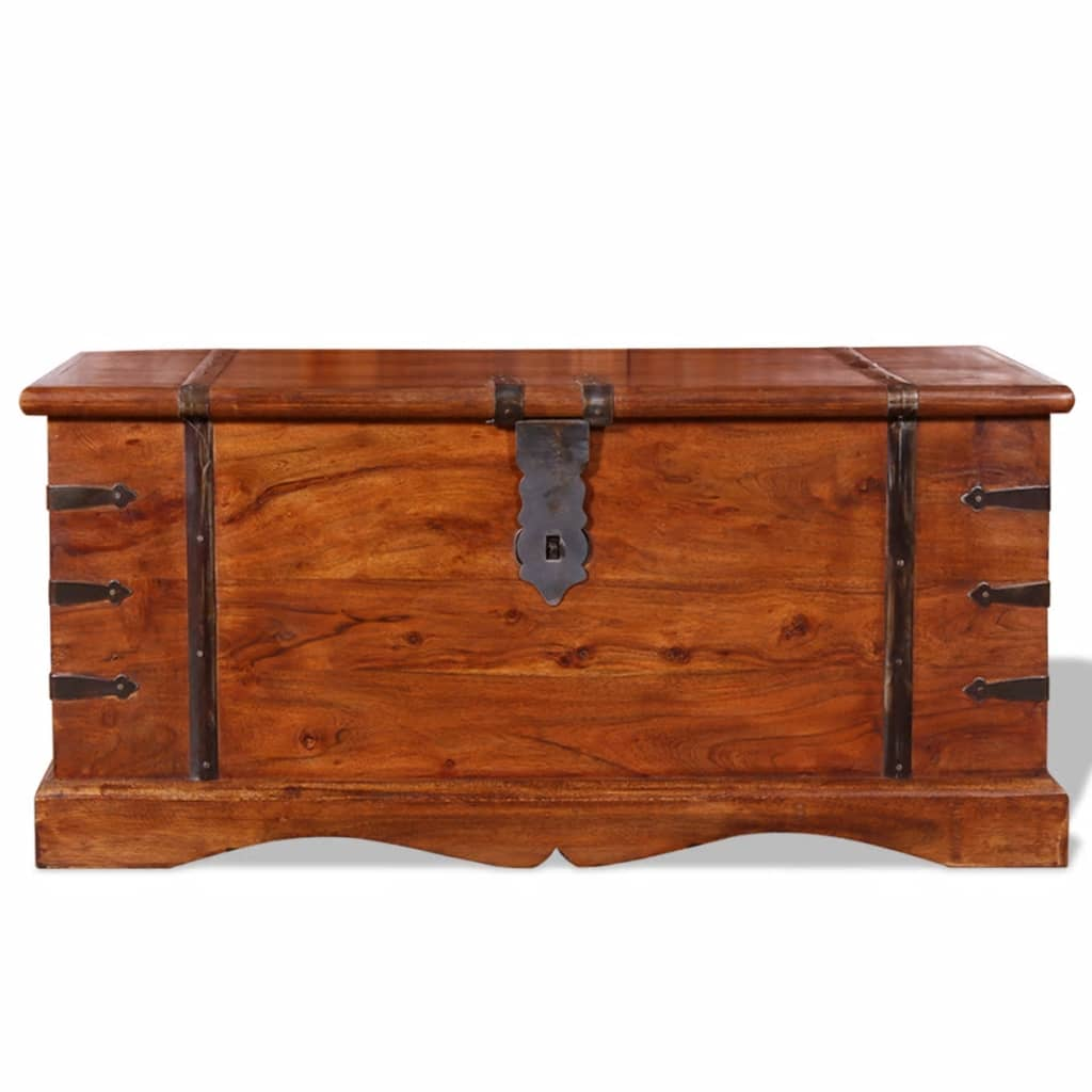 Used Solid Wood Coffee Table: Brown Solid Wood Storage Chest Trunk Box Antique Style
