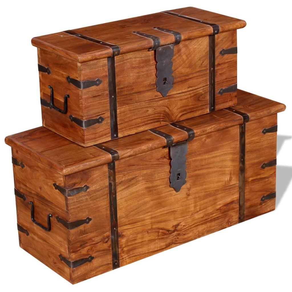 Vidaxl Two Piece Storage Chest Set Solid Wood Vidaxl Co Uk
