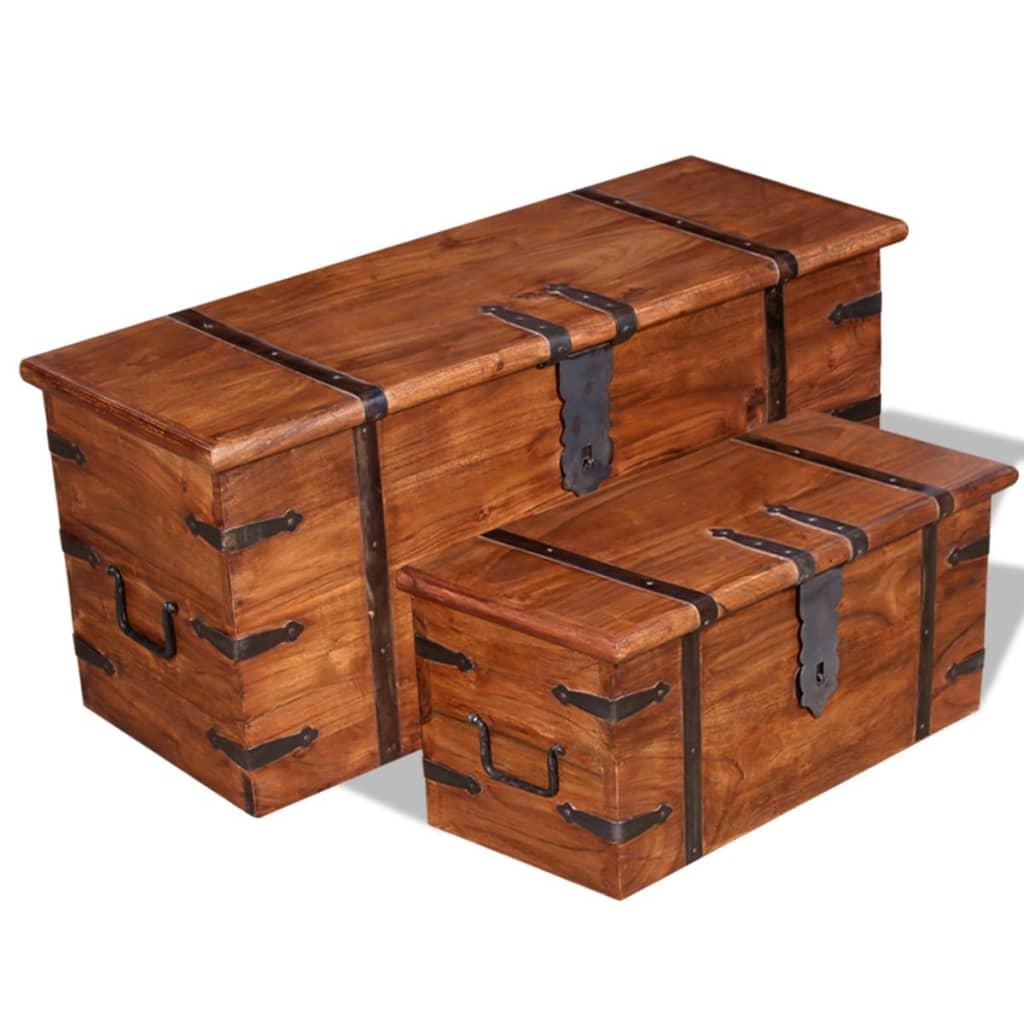 vidaXL Kétrészes, tömör fa tárolóláda készlet