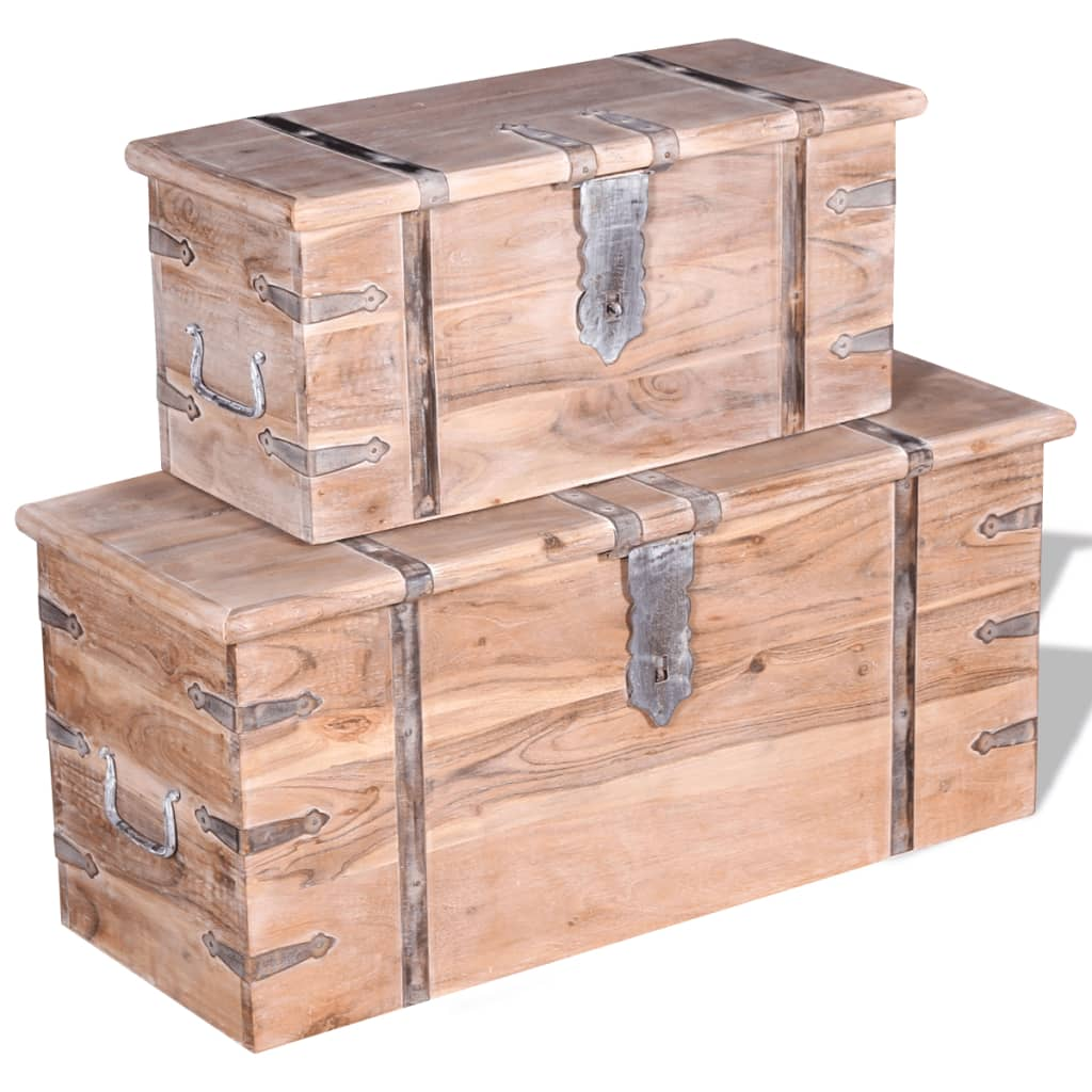 acheter vidaxl ensemble de deux coffres de rangement bois d 39 acacia pas cher. Black Bedroom Furniture Sets. Home Design Ideas