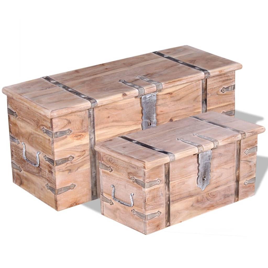 vidaXL Kétrészes, tömör akácfa tárolóláda készlet