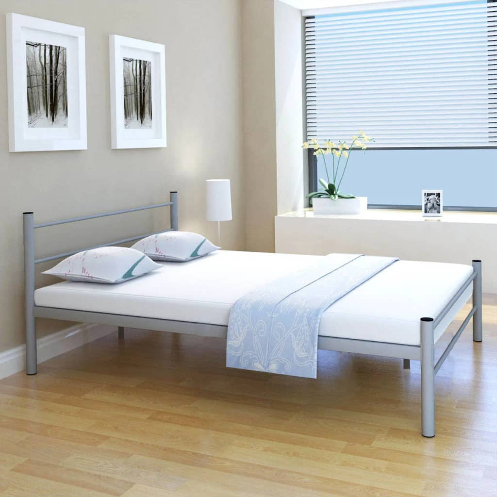 vidaxl metall bett doppelbett ehebett bettgestell. Black Bedroom Furniture Sets. Home Design Ideas