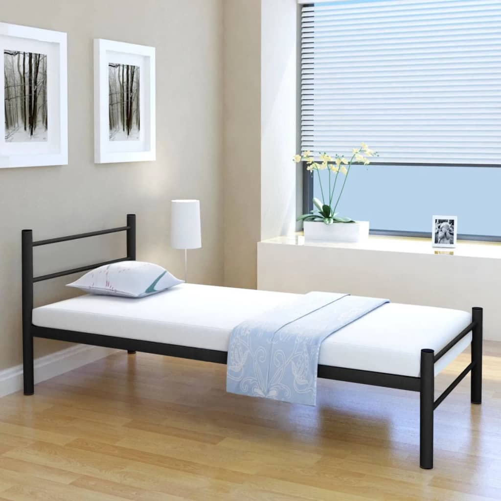 vidaxl metalowa rama ka 90 x 200 cm czarna sklep internetowy. Black Bedroom Furniture Sets. Home Design Ideas