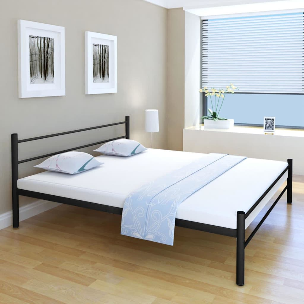 vidaXL Double Bed Frame Bedroom Furniture Metal Black 180x200 cm 6FT ...