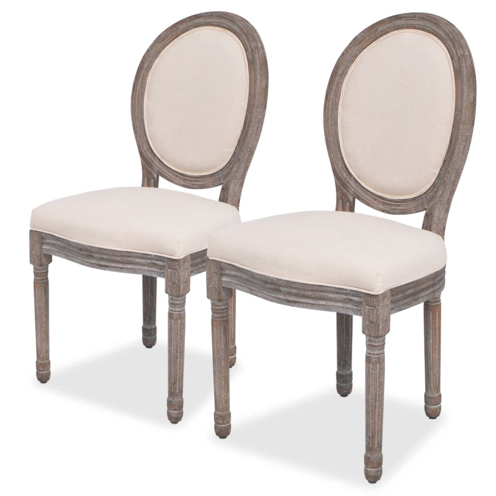 vidaXL Krzesła do jadalni, lniane, 2 szt.