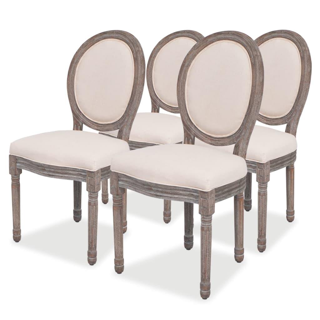 vidaXL Krzesła do jadalni, lniane, 4 szt.