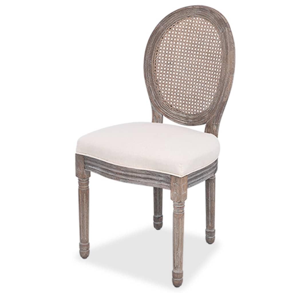 Acheter vidaxl chaises de salle manger 2 pi ces lin et for Chaises salle a manger rotin