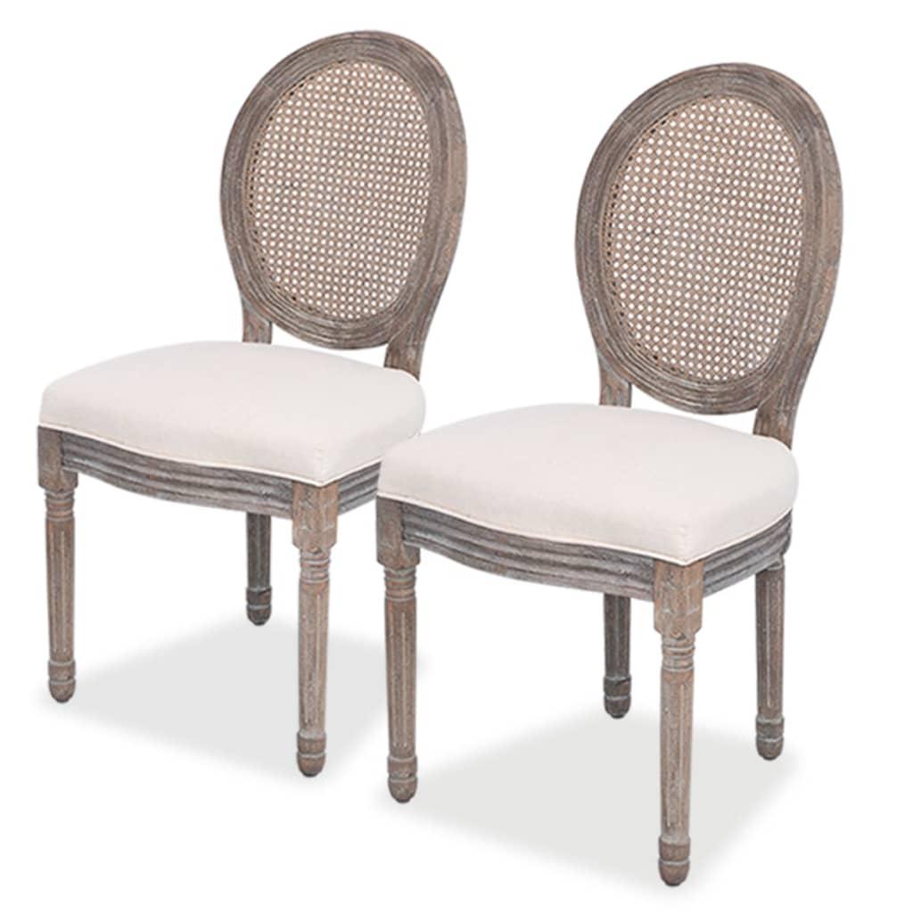 Acheter vidaxl chaises de salle manger 2 pi ces lin et for Acheter des chaises de salle a manger