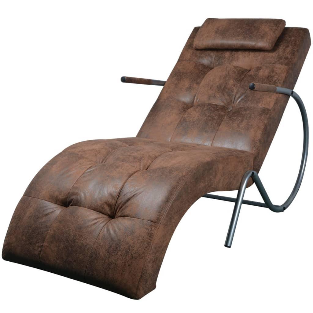 Afbeelding van vidaXL Loungestoel met kussen suède-look stof bruin