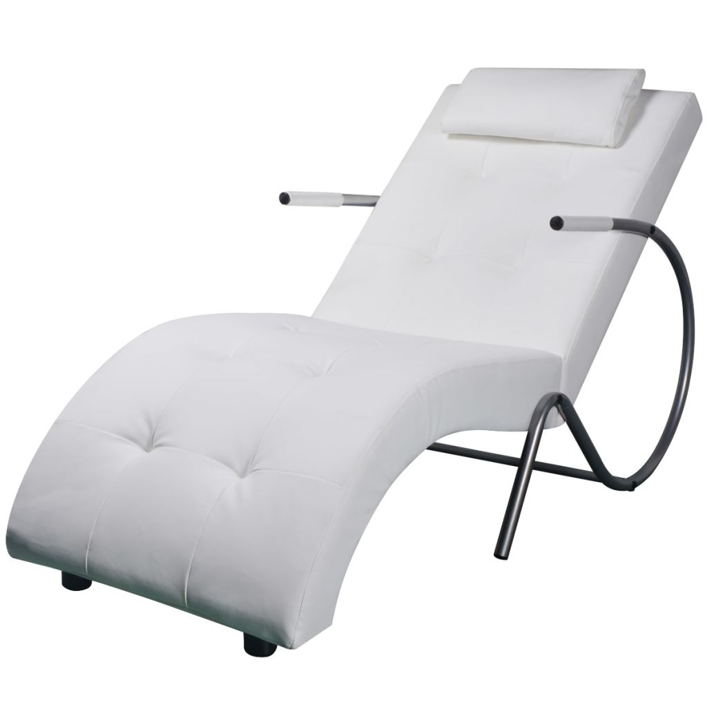 vidaXL fehér műbőr pihenőszék párnával