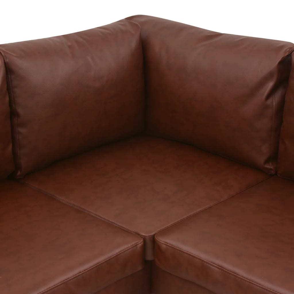 vidaxl ecksofa ledersofa sofa couch eckcouch couchgarnitur kunstleder braun ebay. Black Bedroom Furniture Sets. Home Design Ideas