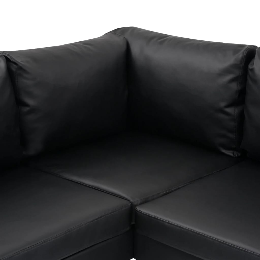 vidaxl ecksofa ledersofa sofa couch eckcouch couchgarnitur kunstleder schwarz eur 392 99. Black Bedroom Furniture Sets. Home Design Ideas
