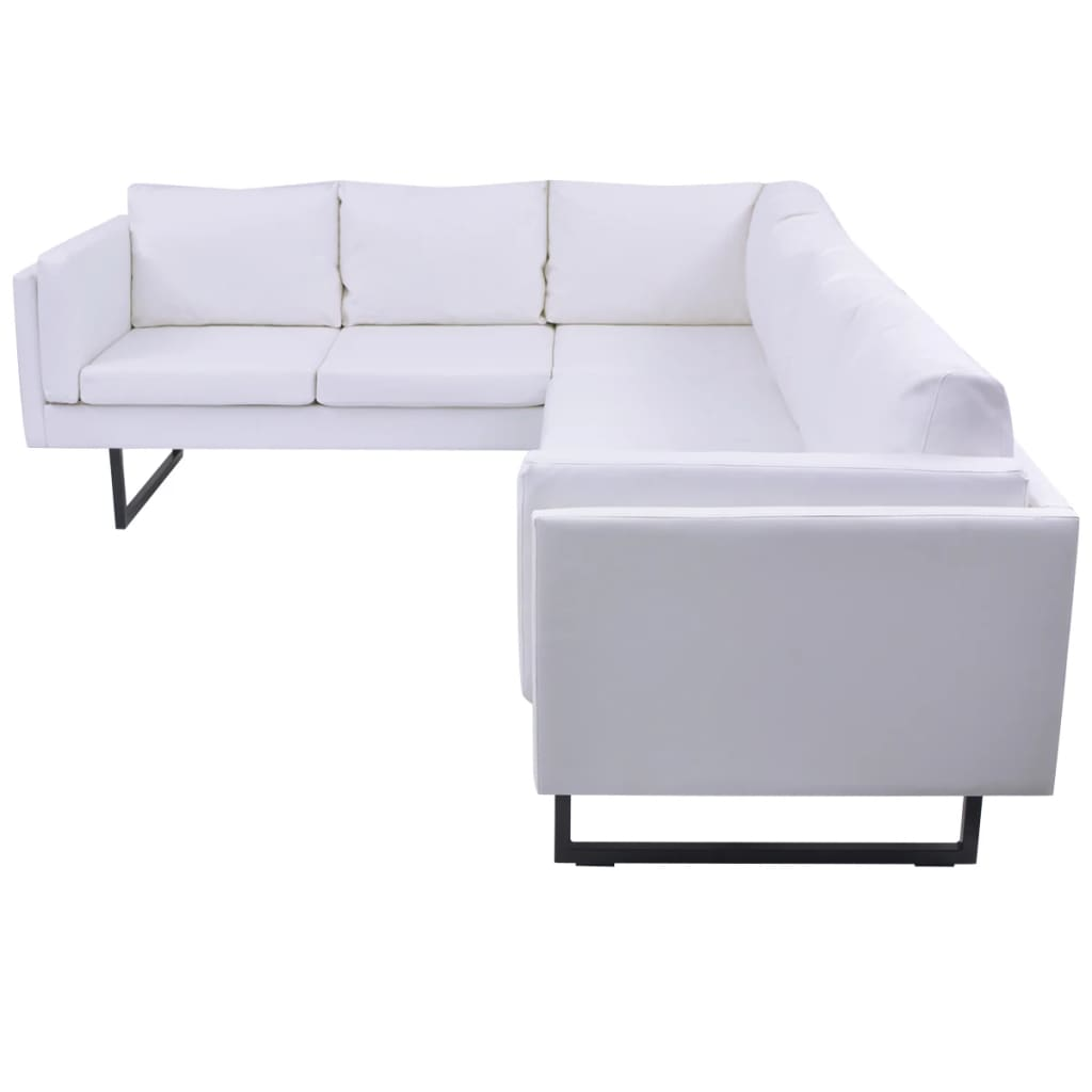 vidaxl ecksofa ledersofa sofa couch eckcouch polstergarnitur kunstleder wei ebay. Black Bedroom Furniture Sets. Home Design Ideas