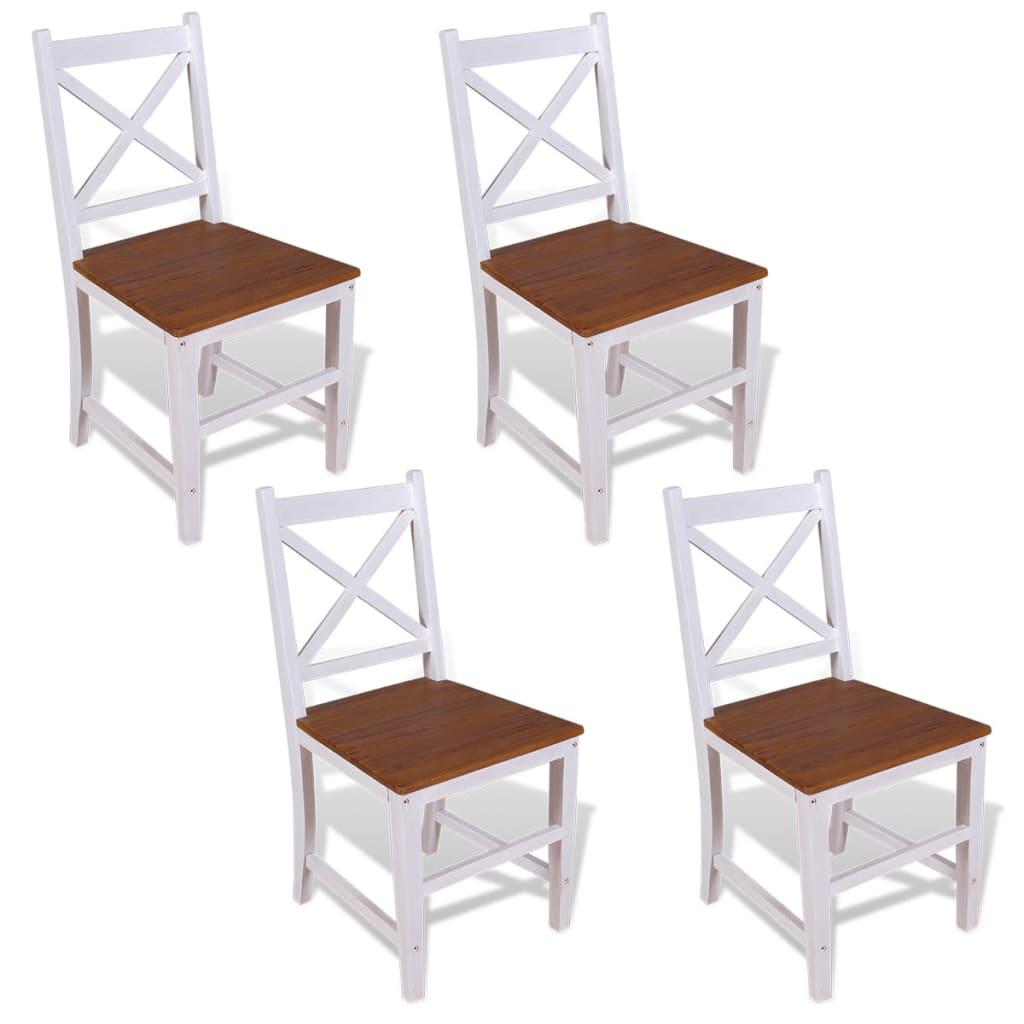 vidaXL Krzesła do jadalni, 4 szt, lite drewno tekowe i mahoniowe