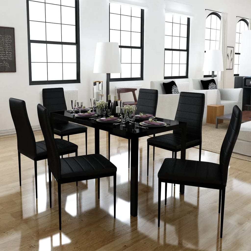 Vidaxl 7 Piece Black Dining Set Glass Table 6 Artificial Leather Chairs Kitchen For Sale Online