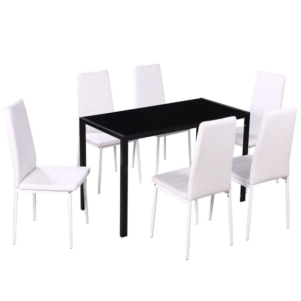 Vidaxl seven piece dining table and chair set black and for Black and white dining set