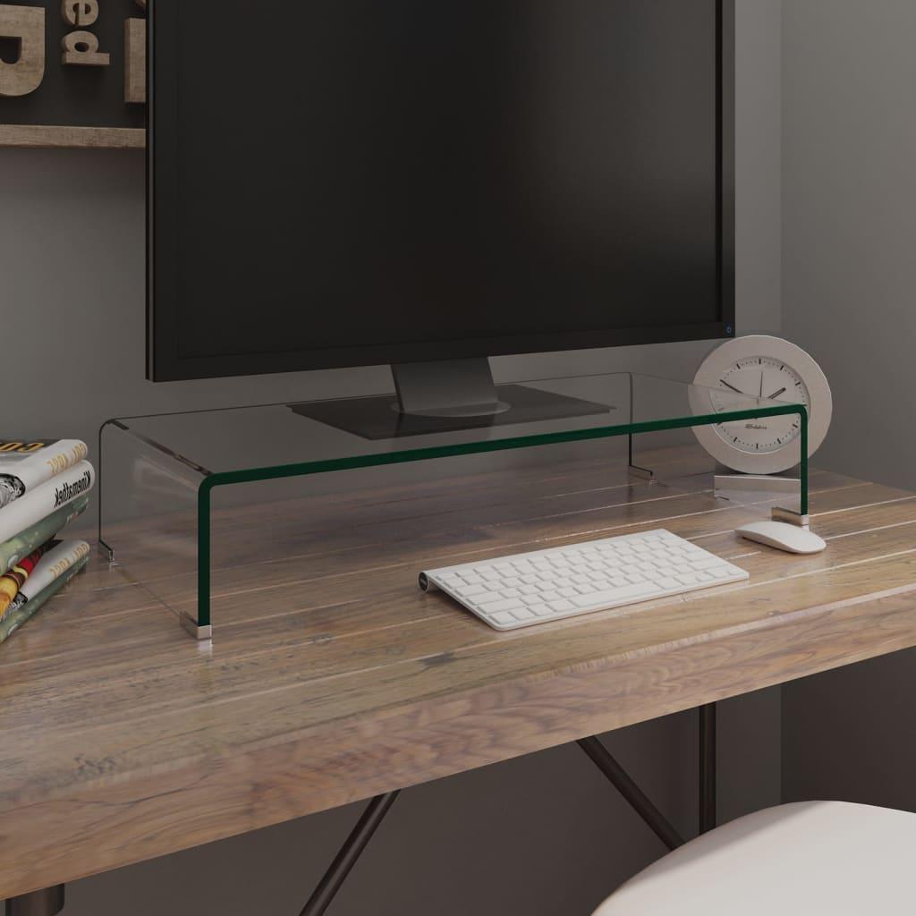 vidaXL Átlátszó üveg TV/monitor állvány 70x30x13 cm