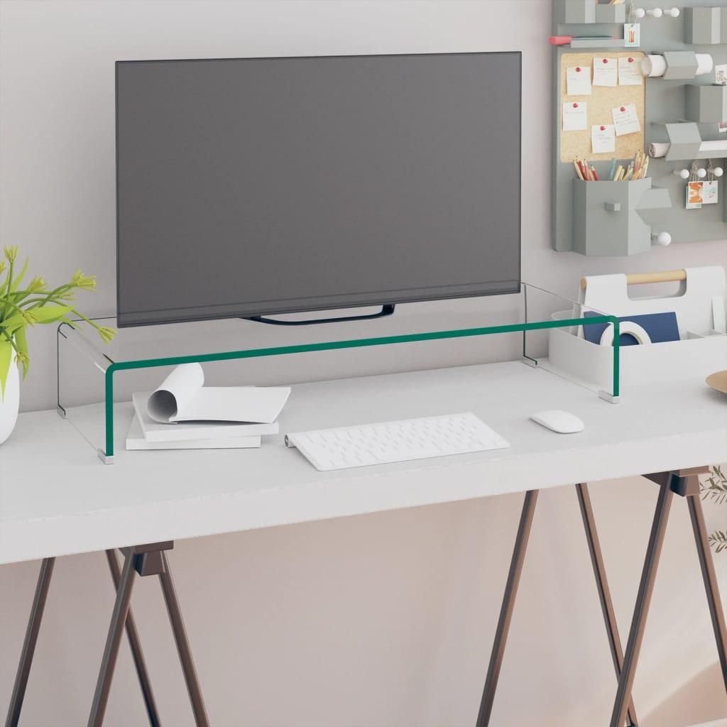 vidaXL Átlátszó üveg TV/monitor állvány 80x30x13 cm