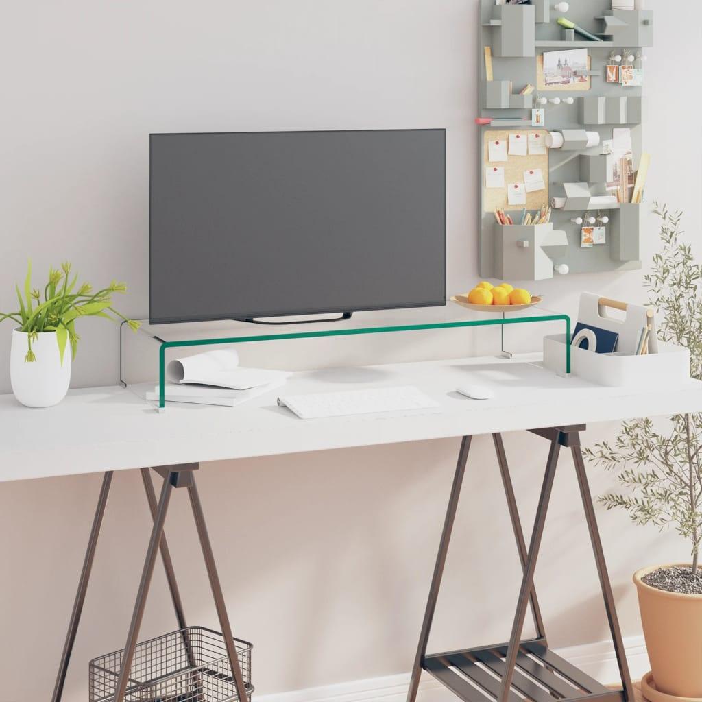 vidaXL TV/monitor állvány átlátszó üveg 90x30x13 cm