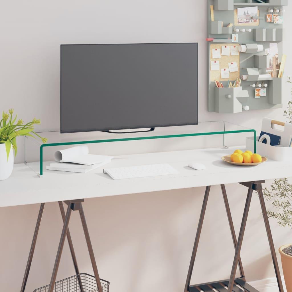 vidaXL Átlátszó üveg TV/monitor állvány 100x30x13 cm