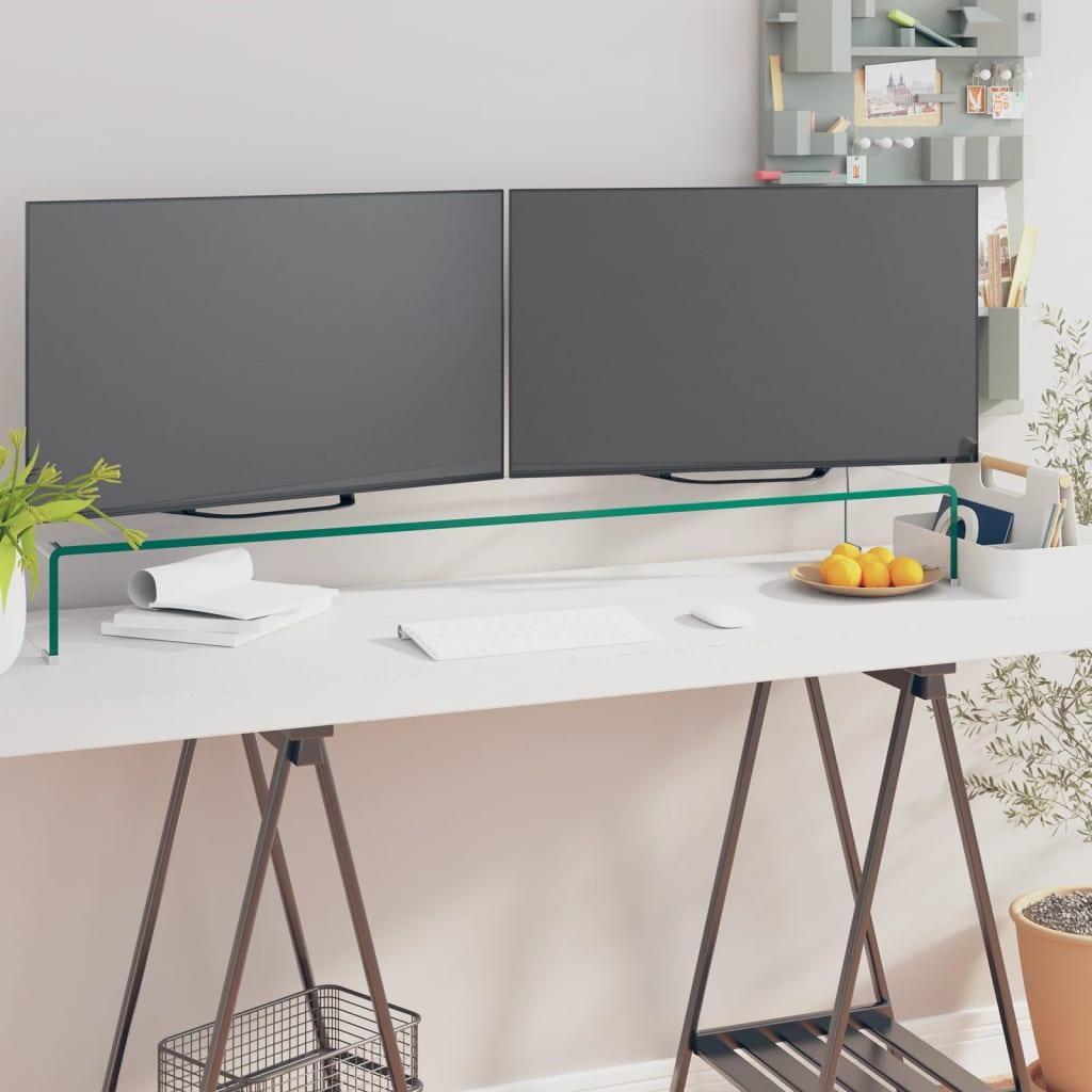 vidaXL Átlátszó üveg TV/monitor állvány 110x30x13 cm