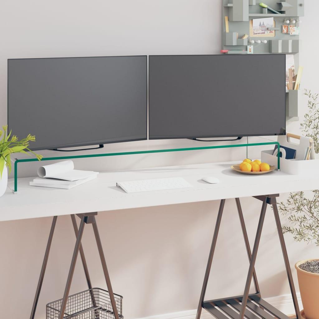 vidaXL Átlátszó üveg TV/monitor állvány 120x30x13 cm
