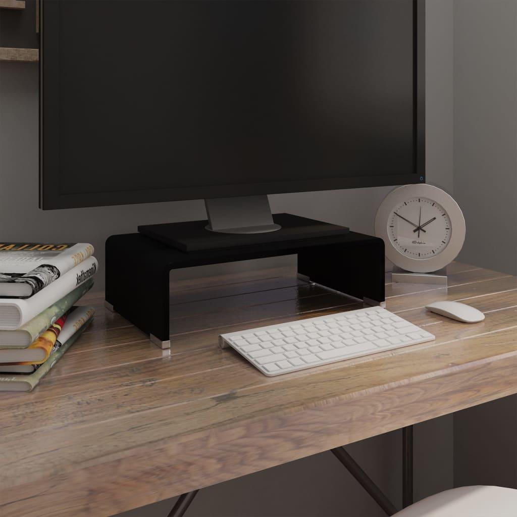 vidaXL Fekete üveg TV/monitor állvány 40x25x11 cm