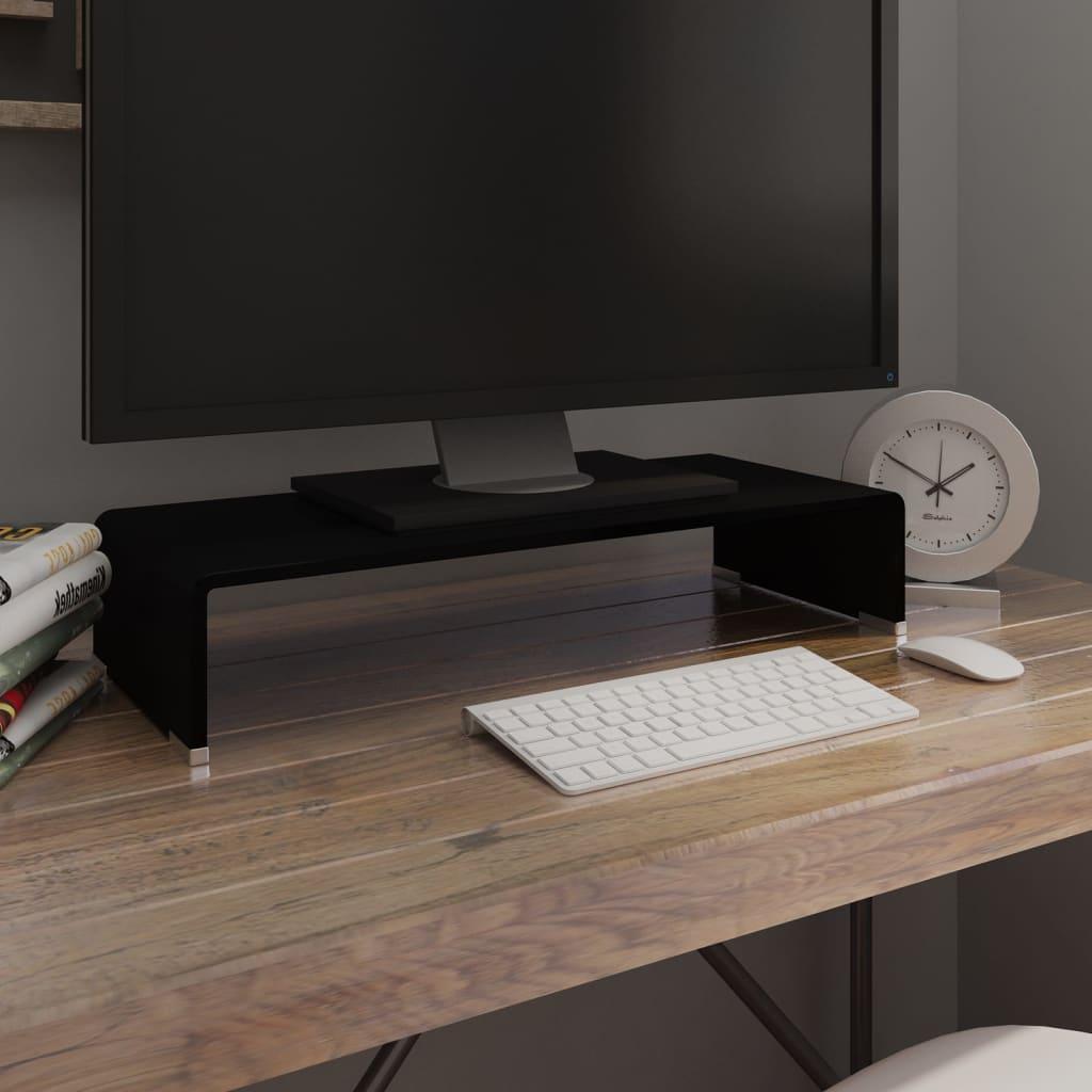 vidaXL Átlátszó üveg TV/monitor állvány 60x25x11 cm
