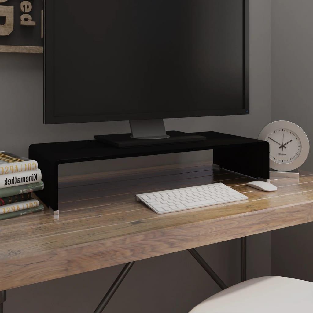 vidaXL Fekete üveg TV/monitor állvány 70x30x13 cm