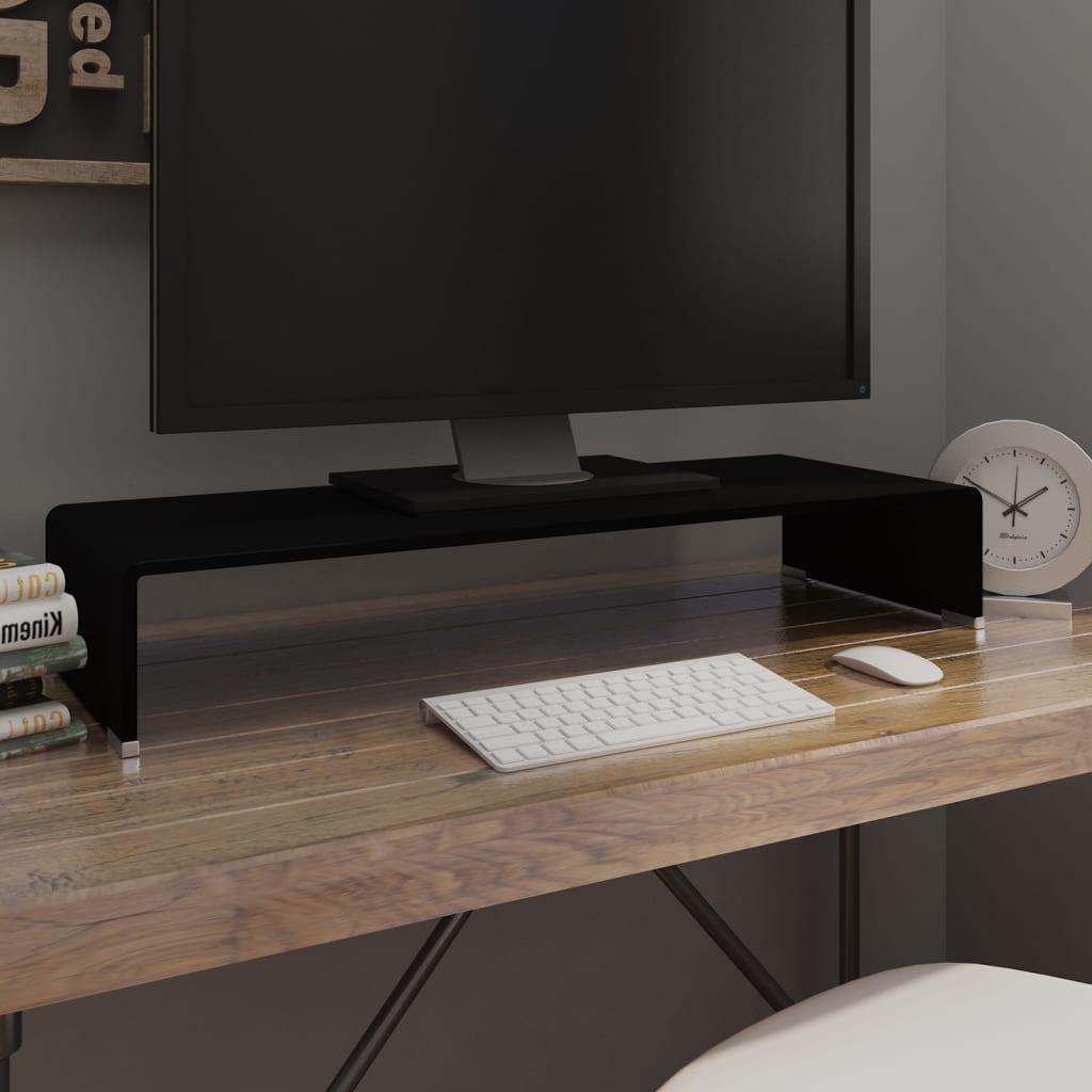 vidaXL Fekete üveg TV/monitor állvány 80x30x13 cm