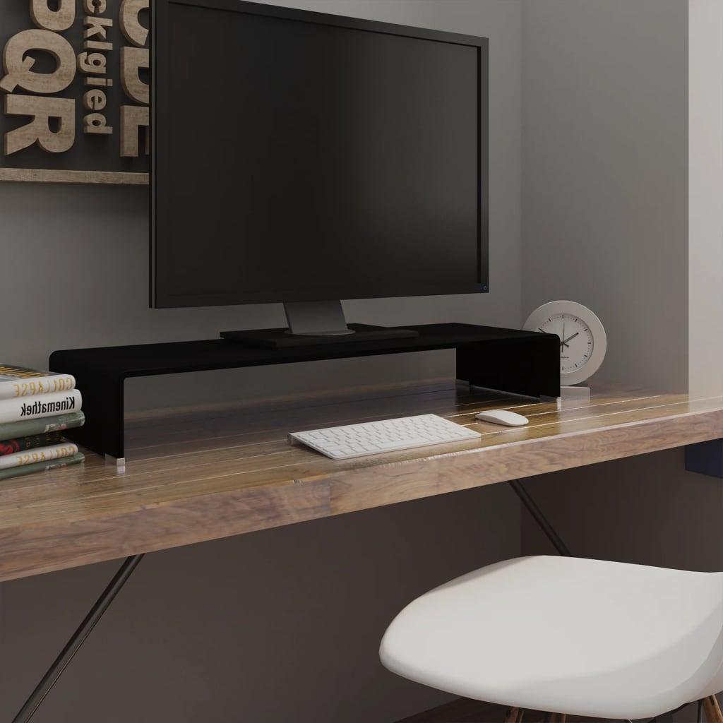 Vidaxl Meuble Tv Support Pour Moniteur 90 X 30 X 13 Cm Verre Noir  # Meuble Tv Support Tv