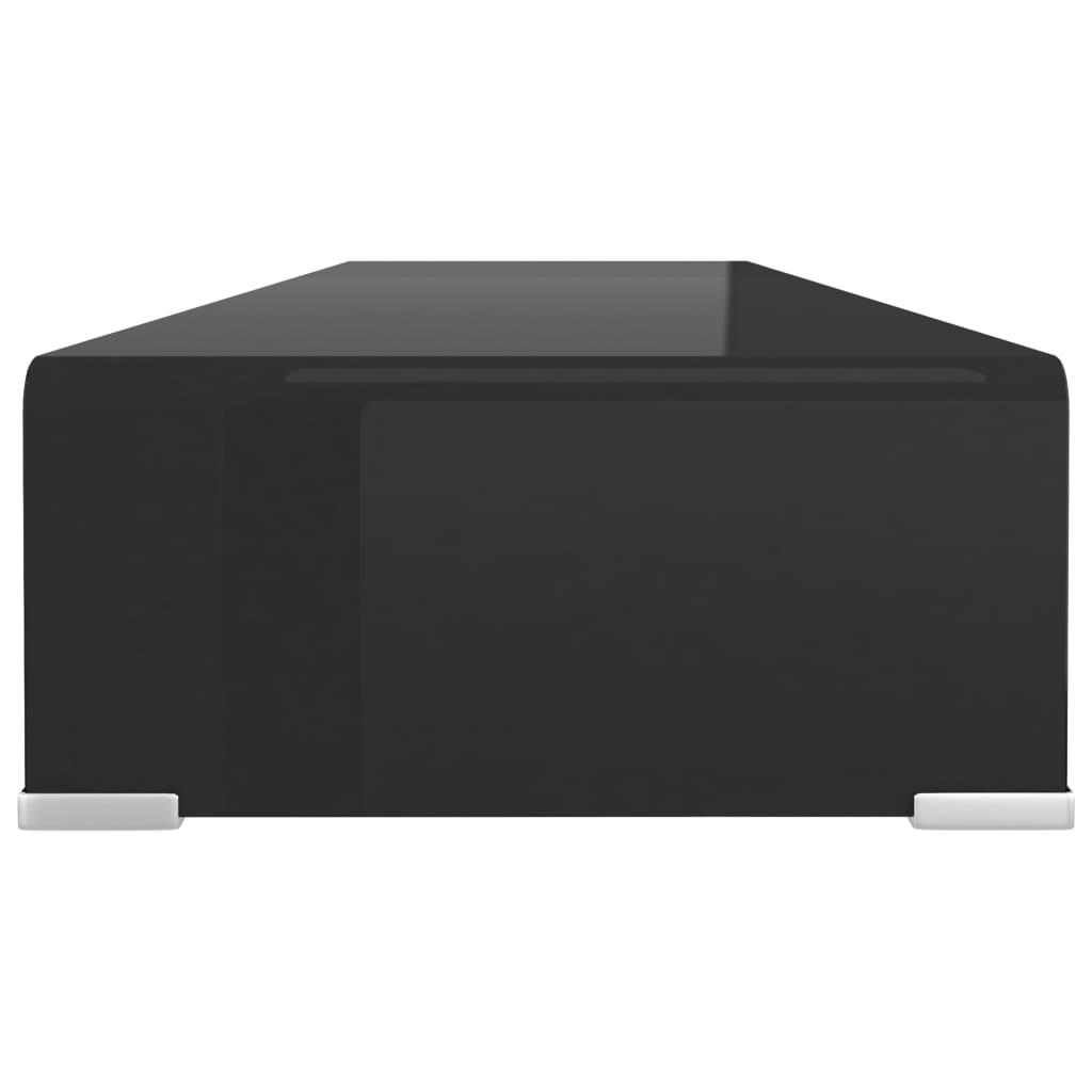 vidaxl tv tisch bildschirmerh hung glas schwarz 100x30x13. Black Bedroom Furniture Sets. Home Design Ideas