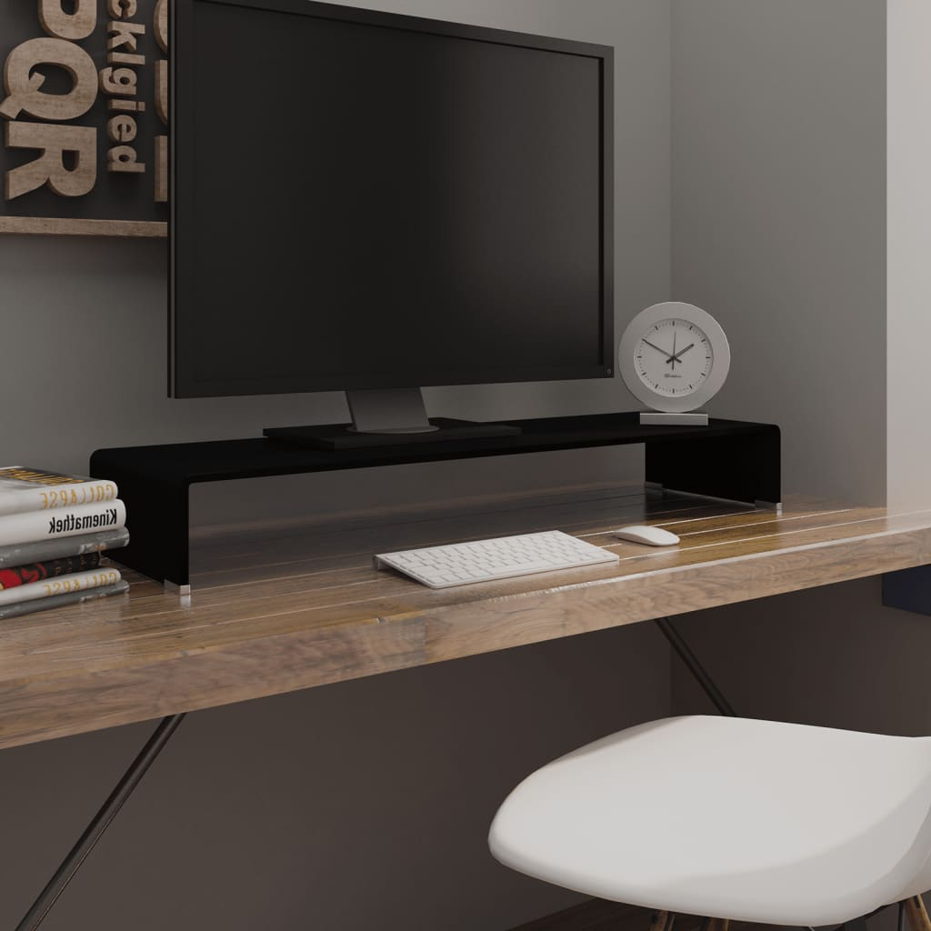 Vidaxl Meuble Tv Support Pour Moniteur 100 X 30 X 13 Cm Verre  # Meuble Tv Verre Noir