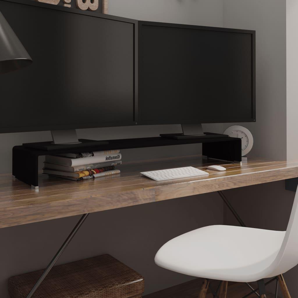 vidaXL Fekete üveg TV/monitor állvány 110x30x13 cm