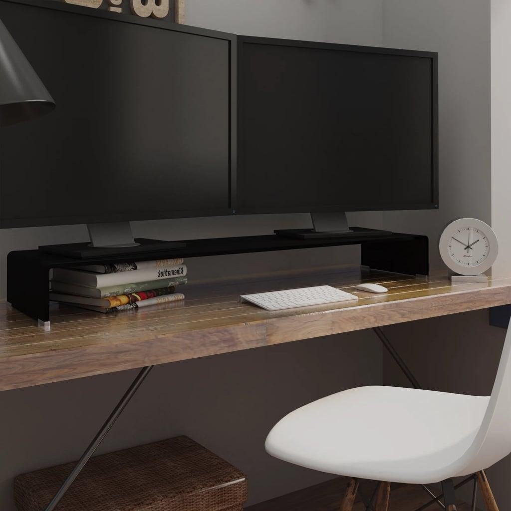 vidaXL Fekete üveg TV/monitor állvány 120x30x13 cm