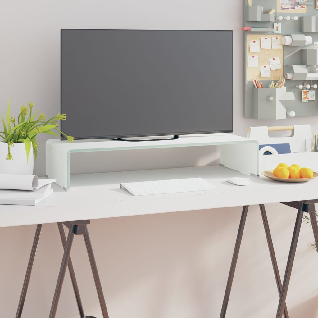 vidaXL Fehér üveg TV/monitor állvány 70x30x13 cm