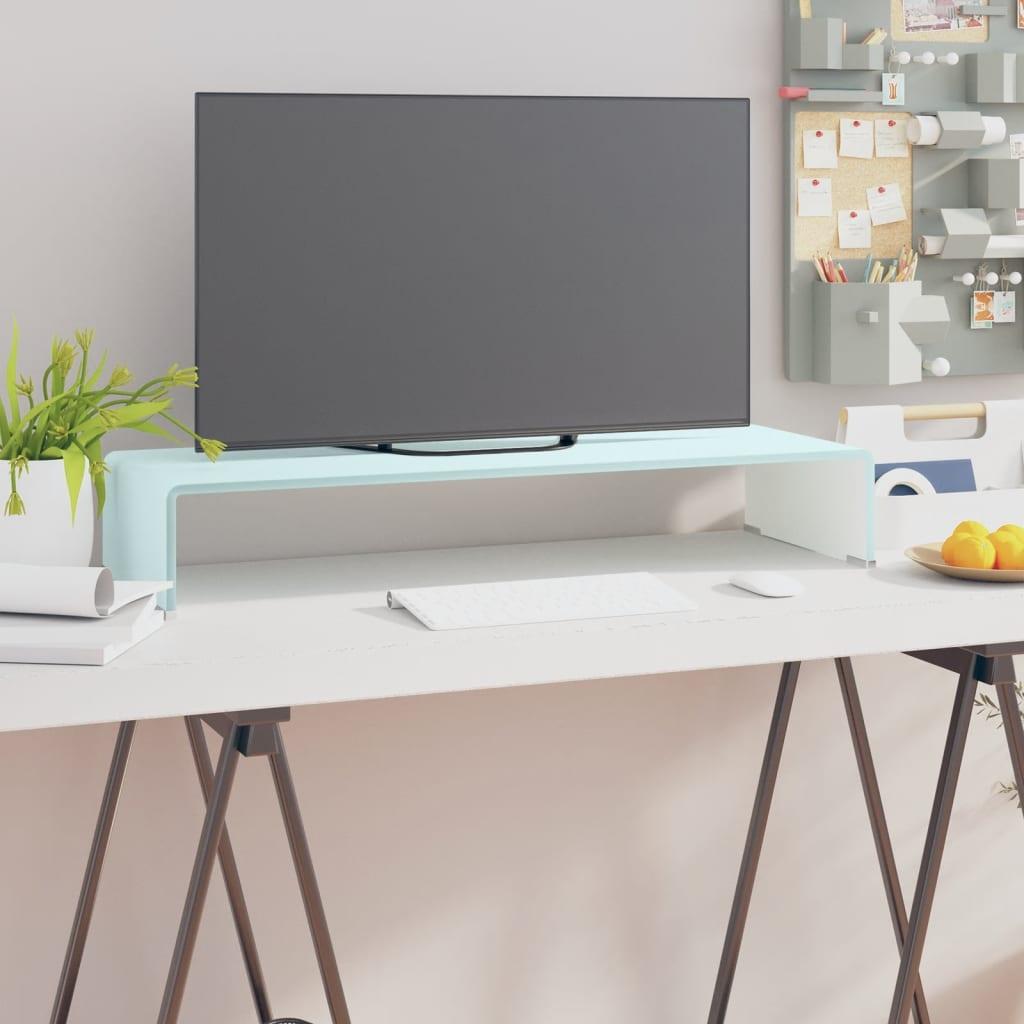 vidaxl meuble tv support pour moniteur 80 x 30 x 13 cm verre blanc. Black Bedroom Furniture Sets. Home Design Ideas