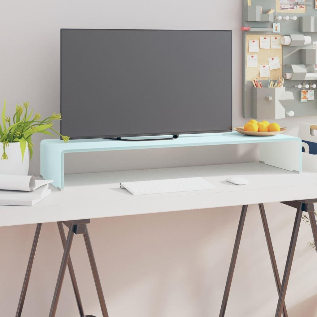 vidaXL Fehér üveg TV/monitor állvány 90x30x13 cm