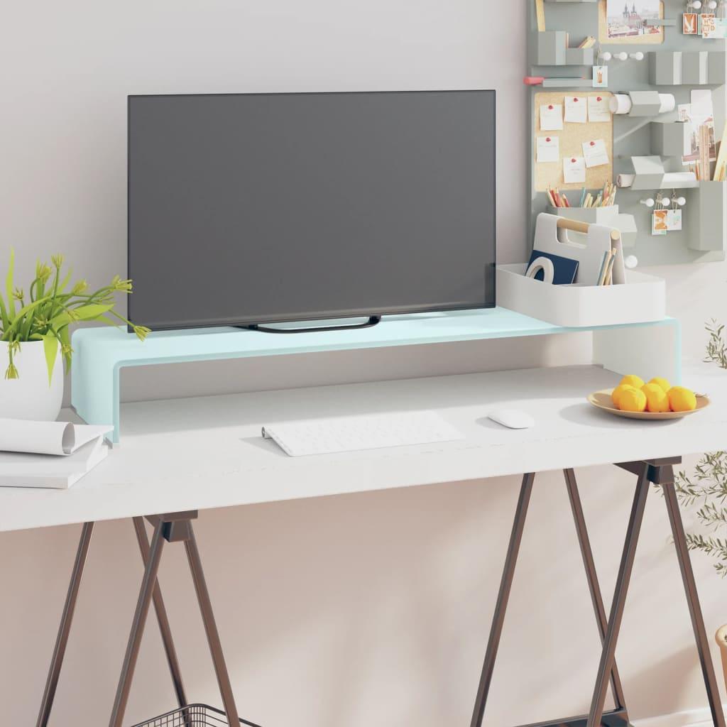 vidaXL Fehér üveg TV/monitor állvány 100x30x13 cm